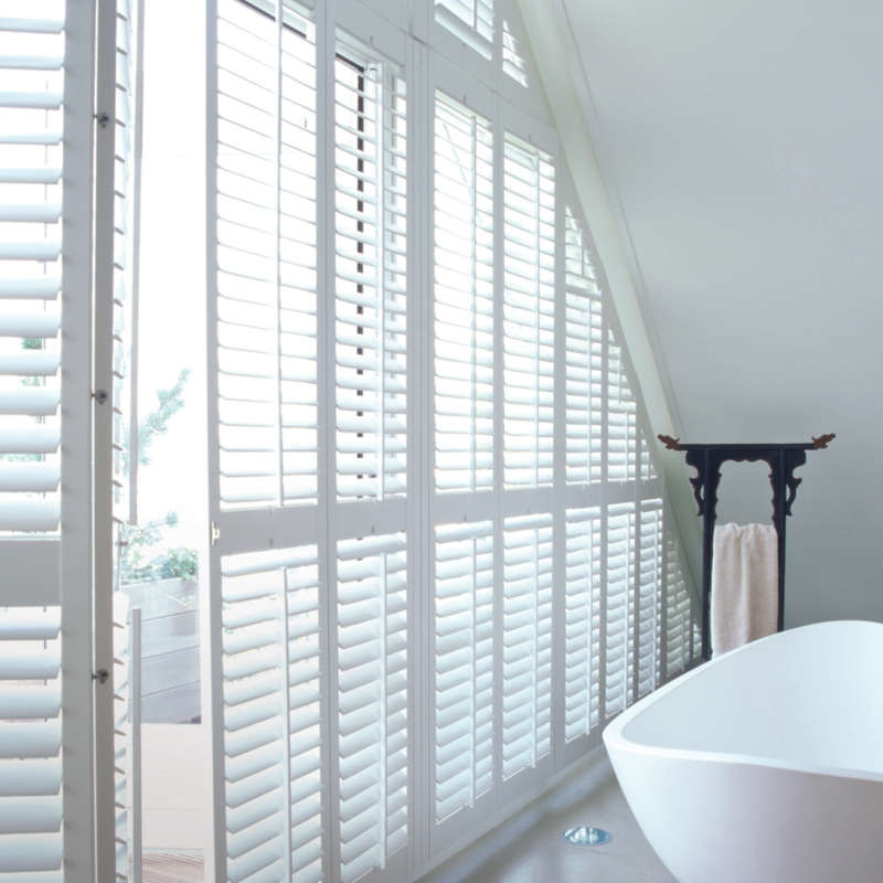 Waterproof window shutters and bay windows winchester for Should plantation shutters match trim